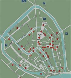 A touristic city map of Gouda with the highlights of the city