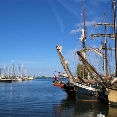 The port of Monnickendam is full of large and small sailing ships in the summer