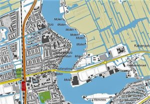 A touristic city map of the Zaanse schans with the highlights of the city