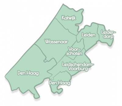 A drawn map of the Leiden region, The Hague and Delft