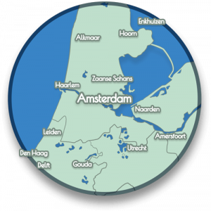 This map shows you the interesting place we mention which are in a range of one our travelling distance from Amsterdam Central Station